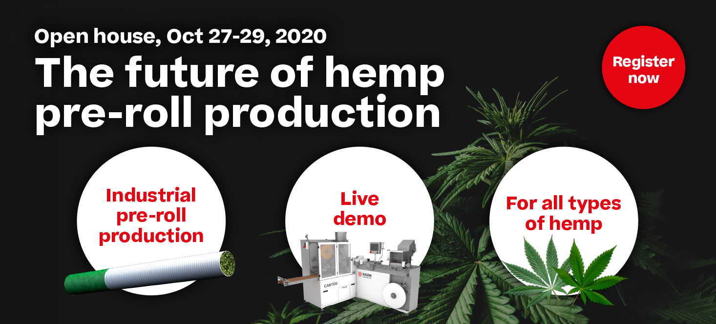 Information about the hemp and canabis pre-roll fair of Hauni Maschinenbau GmbH.
